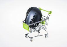 Shopping cart and mouse Stock Photos