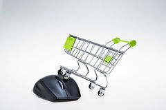 Shopping cart and mouse Royalty Free Stock Photography