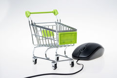 Shopping cart and mouse Royalty Free Stock Photos