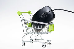 Shopping cart and mouse Royalty Free Stock Images