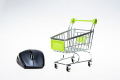 Shopping cart and mouse Stock Photo