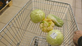 Shopping cart moving through aisles of shop, hands of people put there fruit and vegetables. Supermarket trolley with. Goods on the background of the market stock video footage