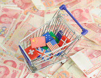 Shopping cart with national flag Royalty Free Stock Photography