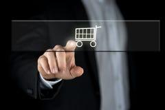 Shopping cart on a navigation bar stock photo