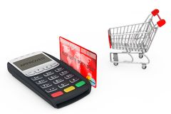 Shopping Cart near Credit Card Payment Terminal. 3d Rendering. Shopping Cart near Credit Card Payment Terminal on a white background. 3d Rendering Stock Photography