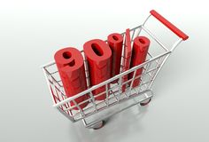 Shopping cart and ninety percent discount Royalty Free Stock Images