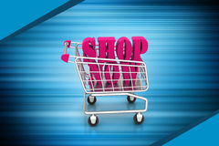 Shopping cart with offer Royalty Free Stock Photos