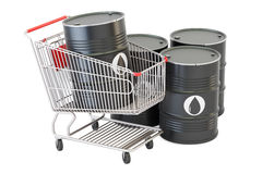 Shopping cart with oil barrels, 3D rendering Royalty Free Stock Photos