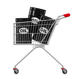 Shopping Cart and Oil Barrels Stock Photo
