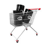 Shopping Cart and Oil Barrels Royalty Free Stock Photos