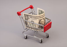 Shopping cart with one dollars Stock Images