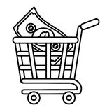 Shopping cart online bill money outline Royalty Free Stock Images