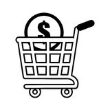 Shopping cart online coin dollar outline Stock Photo