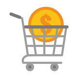 Shopping cart online coin dollar Stock Images