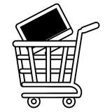 Shopping cart online computer digital black screen outline. Vector illustration eps 10 Royalty Free Stock Images