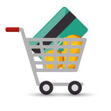 Shopping cart online money credit card coin design Stock Image