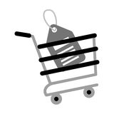 Shopping cart online price tag gray color Royalty Free Stock Images