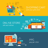 Shopping Cart, Online Store, Pay Per Click Flat Style Concept Stock Photos