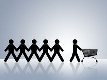 Shopping cart online web shop order. Paper chain figures with one pushing empty shopping cart concept for online shopping or internet shop order Stock Photo