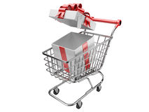 Shopping cart with open gifts boxes Royalty Free Stock Image