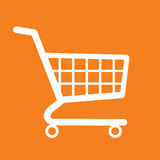 Shopping cart orange background. Icon vector illustration stock Stock Photo