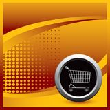Shopping cart with a orange halftone template Stock Image