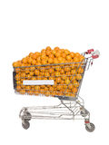 Shopping cart with oranges Stock Photography