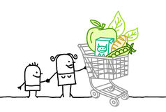 Shopping cart with organic food Royalty Free Stock Image