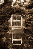 Shopping cart outside in ivy. A shopping cart is outside in the ivy.  The image has an aged sepia tone finish Royalty Free Stock Images