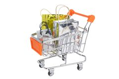 Shopping cart with packages isolated on white Stock Image