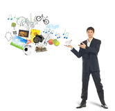 Shopping cart on palm of businessman and goods Stock Photo