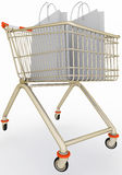 Shopping cart with paper bags Royalty Free Stock Photos