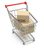 Shopping cart with parcel. 3d Stock Image