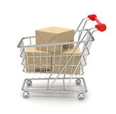 Shopping cart with parcel Royalty Free Stock Photo