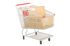 Shopping cart with parcels, order and delivery concept. 3D rende Stock Images