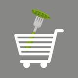 Shopping cart pea food healthy Stock Photo