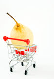 Shopping cart with pear stock images
