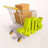 Shopping cart and 40 percent Royalty Free Stock Photo
