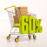 Shopping cart and 60 percent. 3d render: shopping cart and green 60 percentage discount sign on white Royalty Free Stock Images