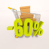 Shopping cart and 60 percent. 3d render: shopping cart and green 60 percentage discount sign on white Royalty Free Stock Photo