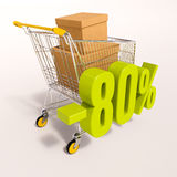 Shopping cart and 80 percent. 3d render: shopping cart and green 80 percentage discount sign on white Royalty Free Stock Images