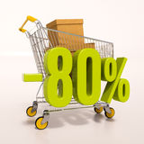 Shopping cart and 80 percent. 3d render: shopping cart and green 80 percentage discount sign on white Royalty Free Stock Photos