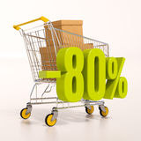 Shopping cart and 80 percent. 3d render: shopping cart and green 80 percentage discount sign on white Stock Photos