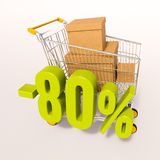 Shopping cart and 80 percent. 3d render: shopping cart and green 80 percentage discount sign on white Stock Images