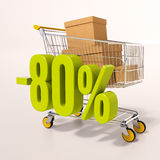 Shopping cart and 80 percent. 3d render: shopping cart and green 80 percentage discount sign on white Stock Photography