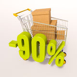 Shopping cart and 90 percent. 3d render: shopping cart and green 90 percentage discount sign on white stock illustration