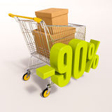 Shopping cart and 90 percent. 3d render: shopping cart and green 90 percentage discount sign on white royalty free illustration