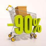 Shopping cart and 90 percent. 3d render: shopping cart and green 90 percentage discount sign on white vector illustration