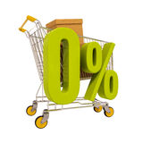 Shopping cart and 0 percent isolated on white Stock Photos