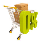 Shopping cart and 0 percent isolated on white Royalty Free Stock Photo